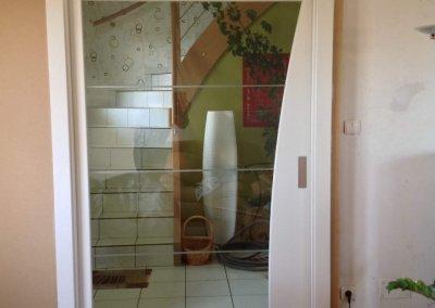 Porte intérieure à galandage verre + bois - GUNGWILLER