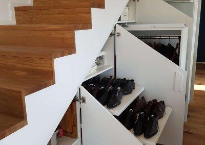 Vue aménagement intérieur grande profondeur tablette à chaussure - Penderie sur coulisse - SANEM - LUXEMBOURG