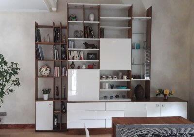 Bibliothèque puriste bas tiroir touch lach haut porte vitrée + coulissante