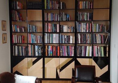 Bibliothèque façade laqué noire brillant porte designe métal-bois-laqué - Belvaux