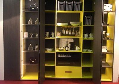 Meuble salle à manger porte et étagère intérieure mela jaune façade stratifiée structure porte ouverture automatique coulissante pliante - Porte battante - Tiroir intérieur - Metting