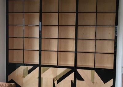 Strasbourg bibliothèque bois massif bas portes coulissantes mdf laquée