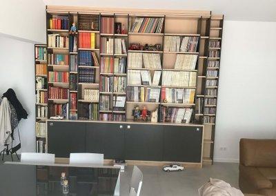 Belvaux bibliothèque laquée noir brillant porte plaquée métal bois