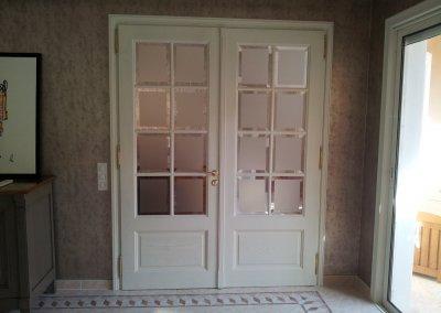 Double porte en bois massif croisillons bois, verre opaque biseauté transparent